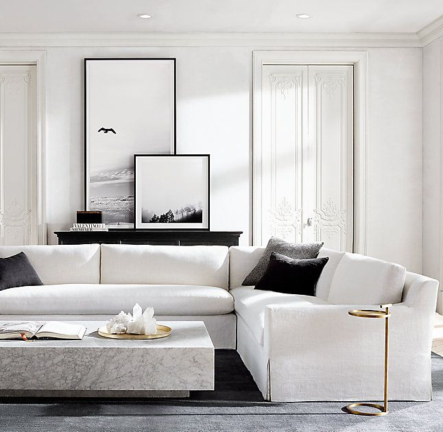 Photo of Belgian Track Arm Slipcovered Customizable Sectional