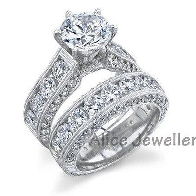 25CT 10K White Gold Plated CZ Wedding Band Engagement Ring Sets Size 8