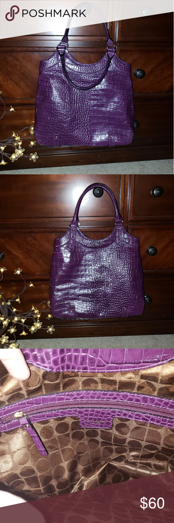 "NWOT Kate Spade New York bag/purse NWOT. Beautiful Kate Soade New York purple bag/purse. Crocodile print.  15"" x 4.5 x 11.5"" w/ 7"" drop from double handles kate spade Bags Totes"