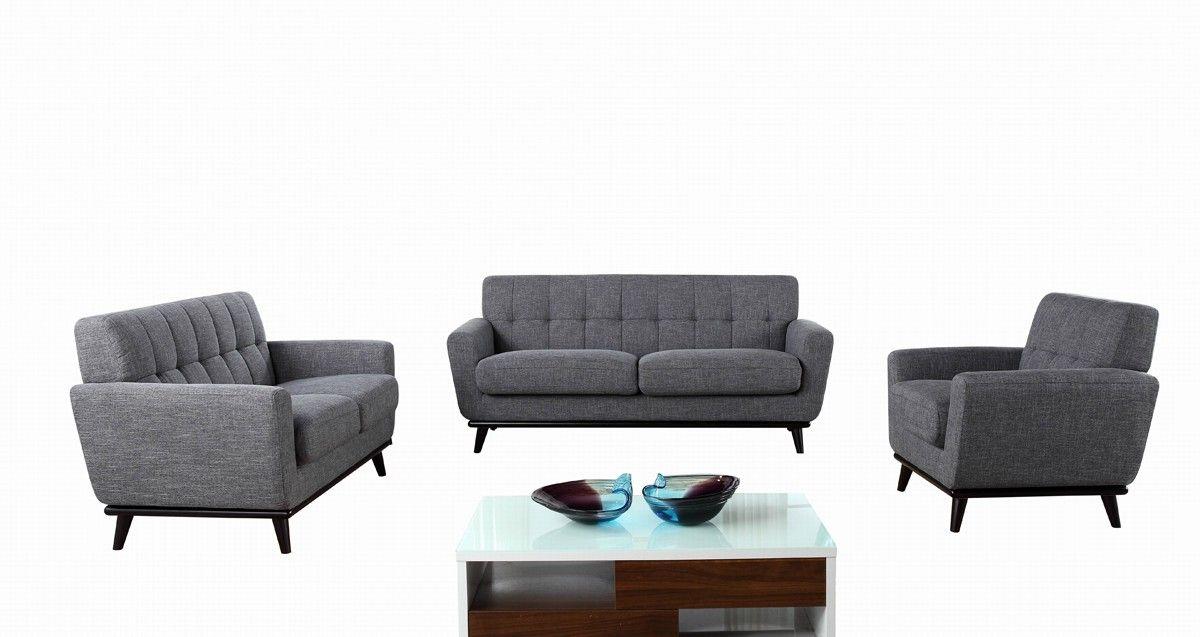 Divani Casa Corsair Modern Grey Fabric Sofa Set Sofas Living Room Sofa Set Grey Fabric Sofa Fabric Sofa