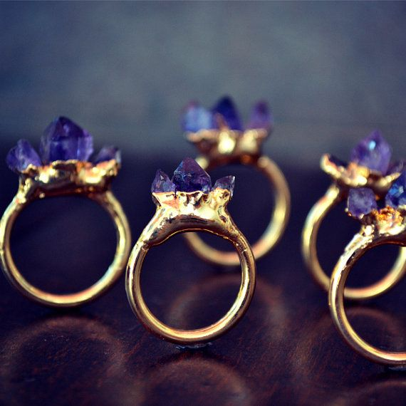 Via: luxdivine etsy AMETHYST MOUNTAIN /// Stackable Gemstone Gold Electroformed Ring