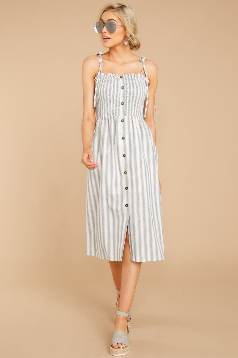 Lovely Grey Striped Midi Dress Button Front Sun Dress Dress 52 Red Dress Striped Midi Dress Dresses Red Dress [ 1200 x 800 Pixel ]