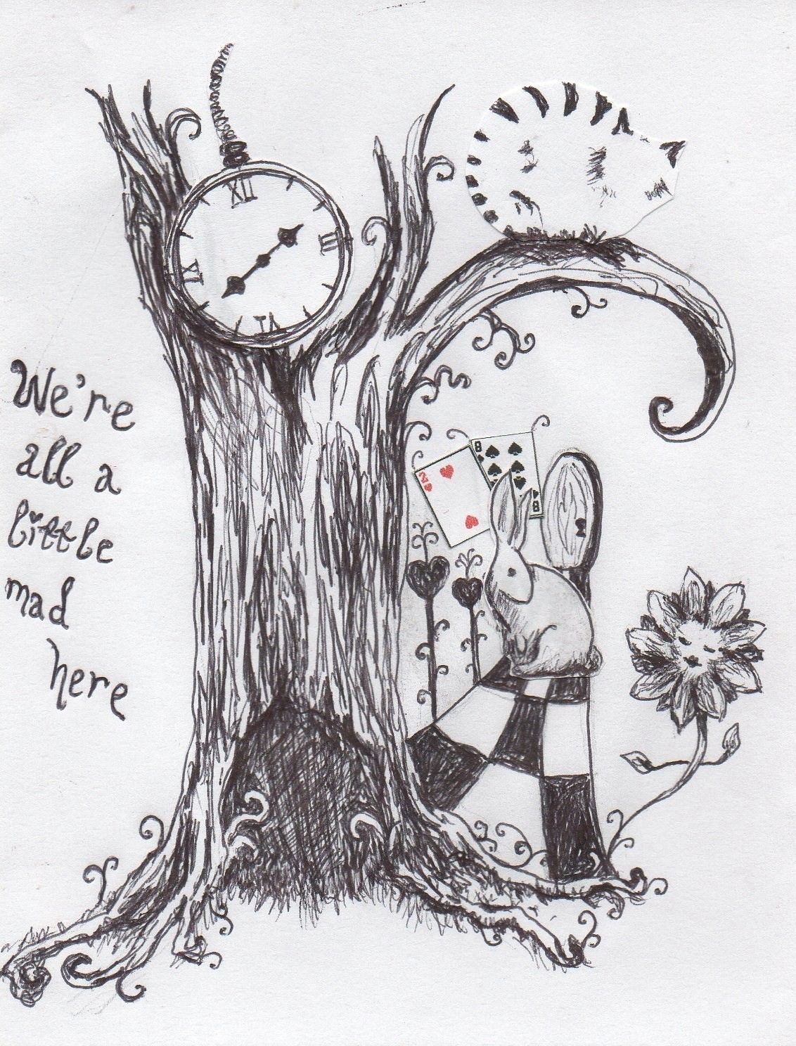 Make Do And Mend A Very Merry Un Birthday To You Alice In Wonderland Drawings Wonderland Tattoo Drawings