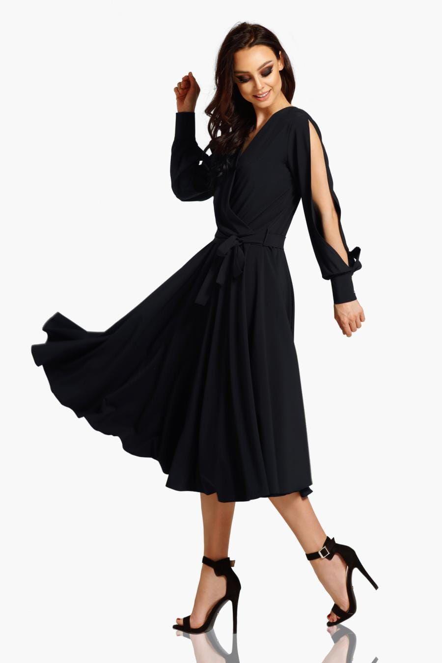4e03fb7f69 Szykowna Sukienka Midi z Rozciętymi Rękawami Czarna LEL295 w 2019 ...