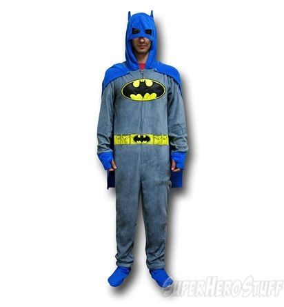 Superman Costume With Cape Union Suit Adult One Piece Pajama