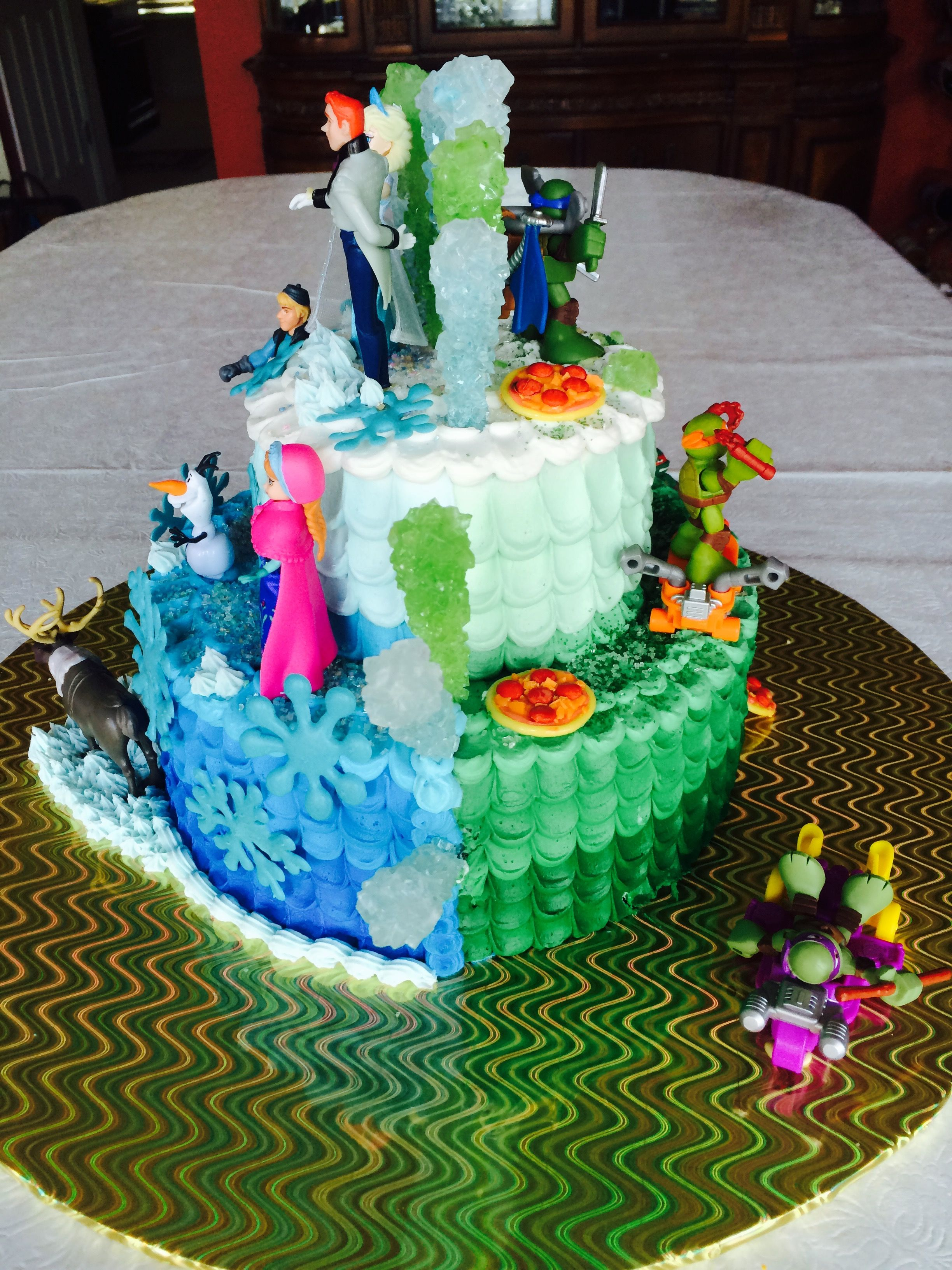 Twins wanted there own theme cake Frozen and Ninja Turtles