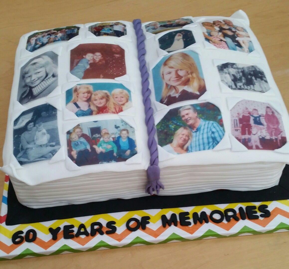 Photo Album Cake: Photo Album Open Book 60th Birthday Cake