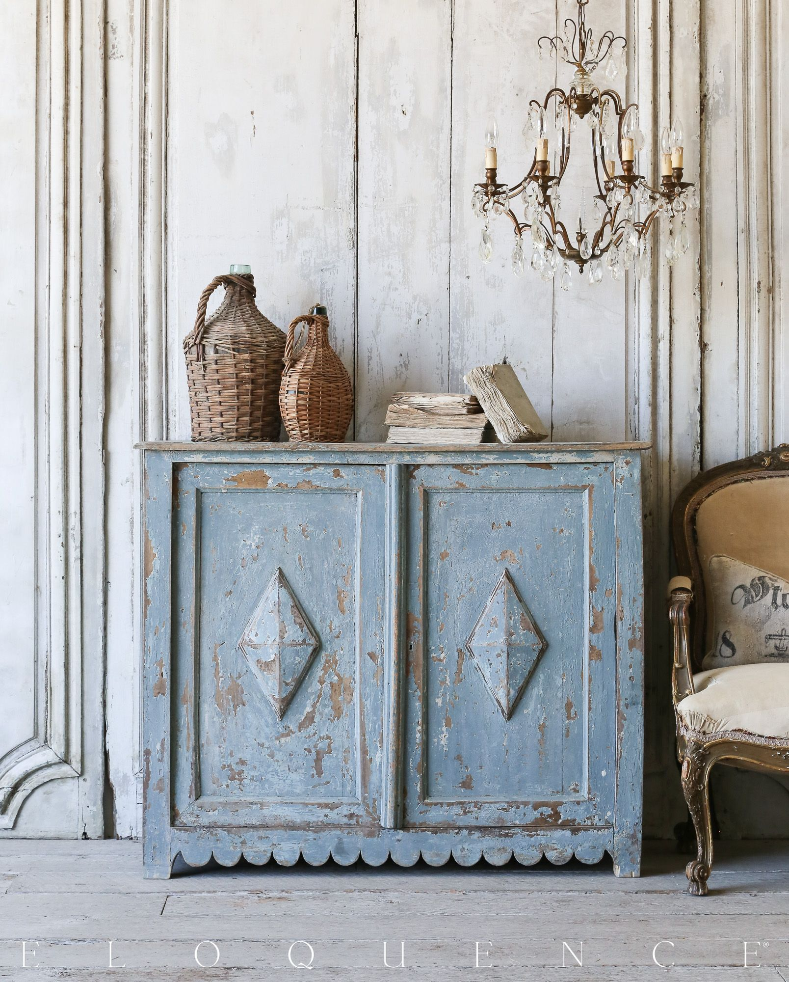 Stunning sky blue antique cabinet from provence circa for Provence mobiliario