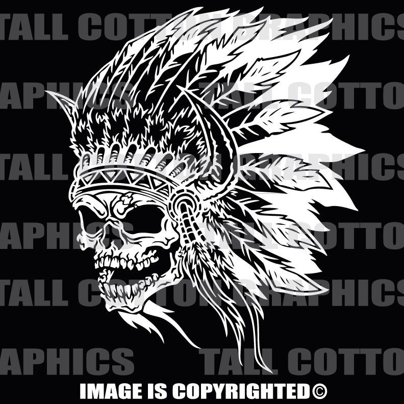 INDIAN SKULL w/HEAD DRESS Vinyl Decal - #SKL128