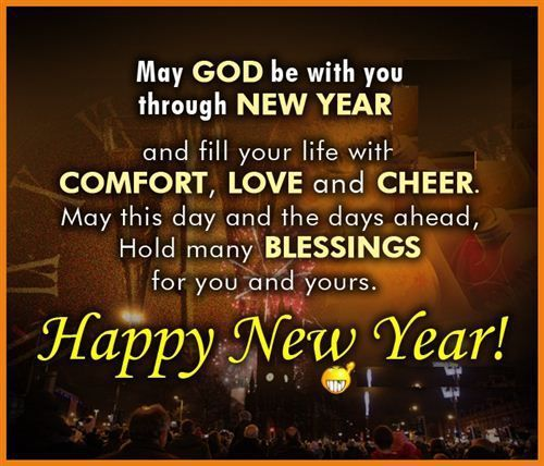 a wish for gods blessings to make the new year filled with joy peace and l
