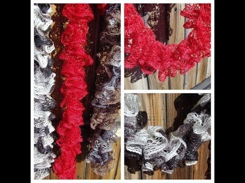 Instruction video How to knit Red Heart Sashay Ruffle scarf Knitting ...