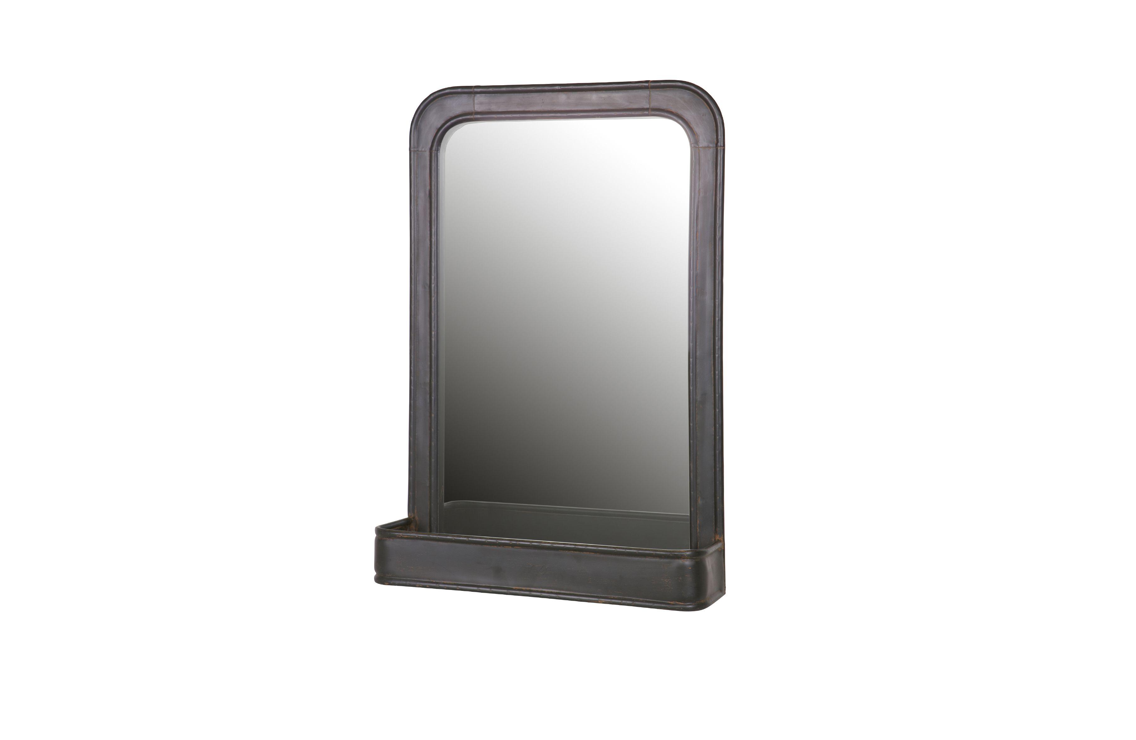Hangende spiegel met plank zwart metaal speak toilet