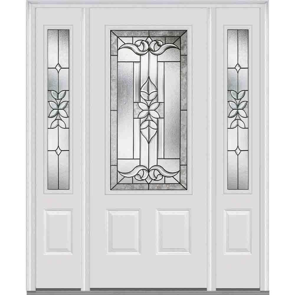 Milliken Millwork 60 In X 80 Cadence Decorative Gl 3 4 Lite Painted Majestic Steel Prehung Front Door With Sidelites Brilliant White