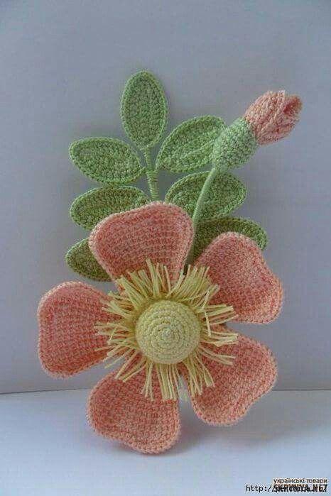 Pin de Mariana Romero en flores crochet | Pinterest | Flor, Flores y ...