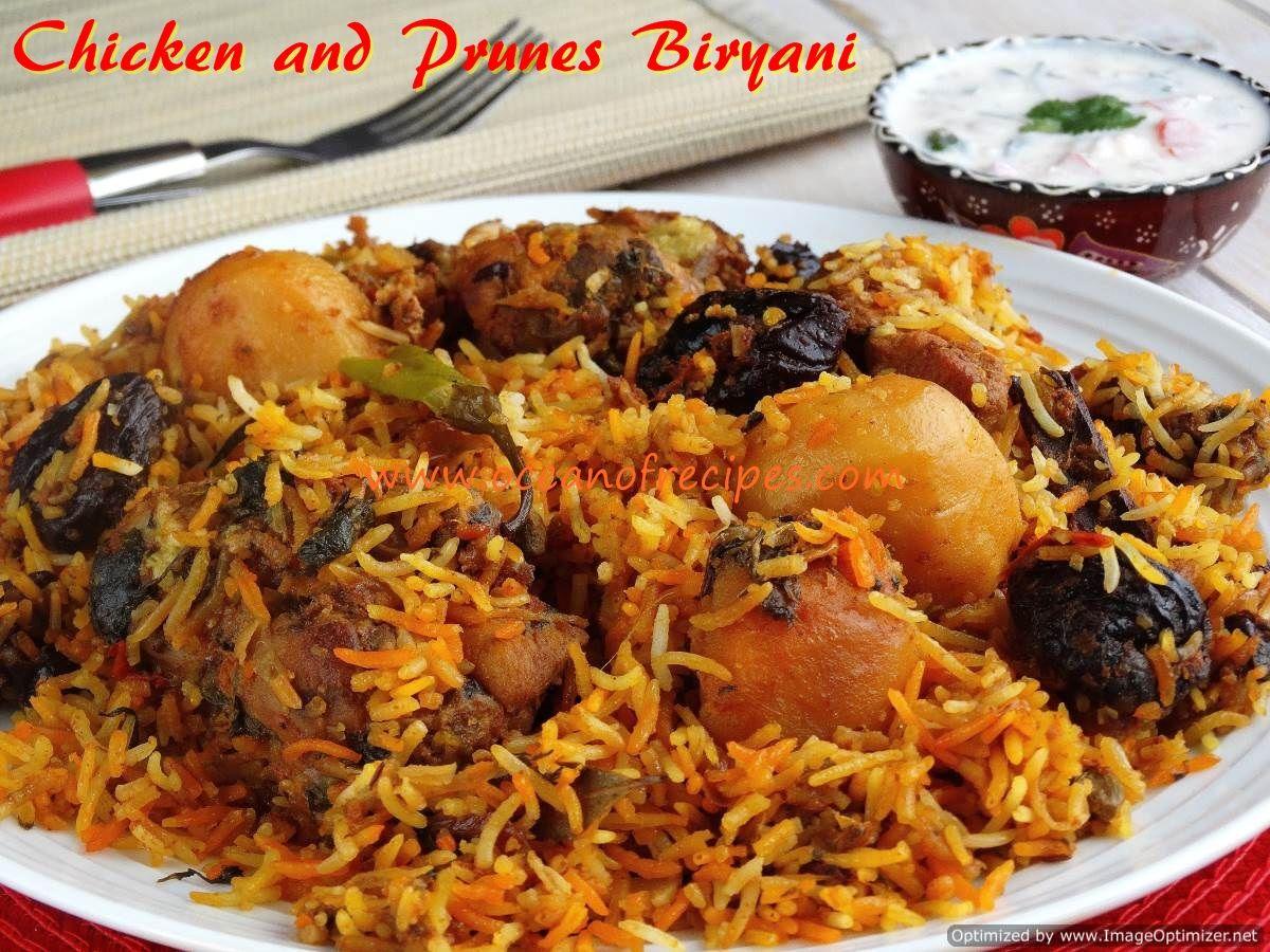 Chicken and prunes biryani