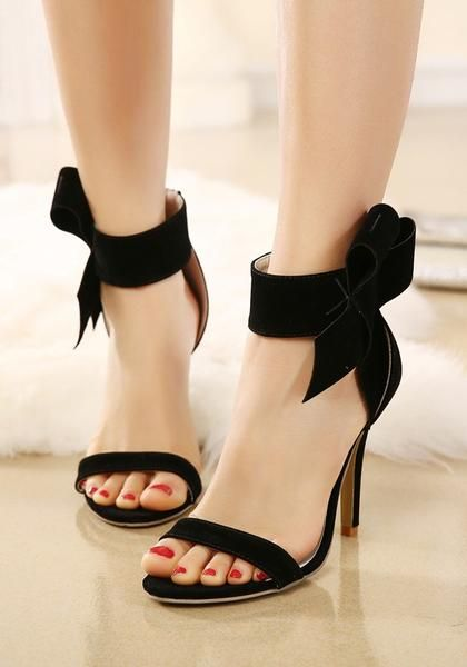 Black Round Toe Stiletto Bow Fashion High-Heeled Sandals  42be9a4a2900