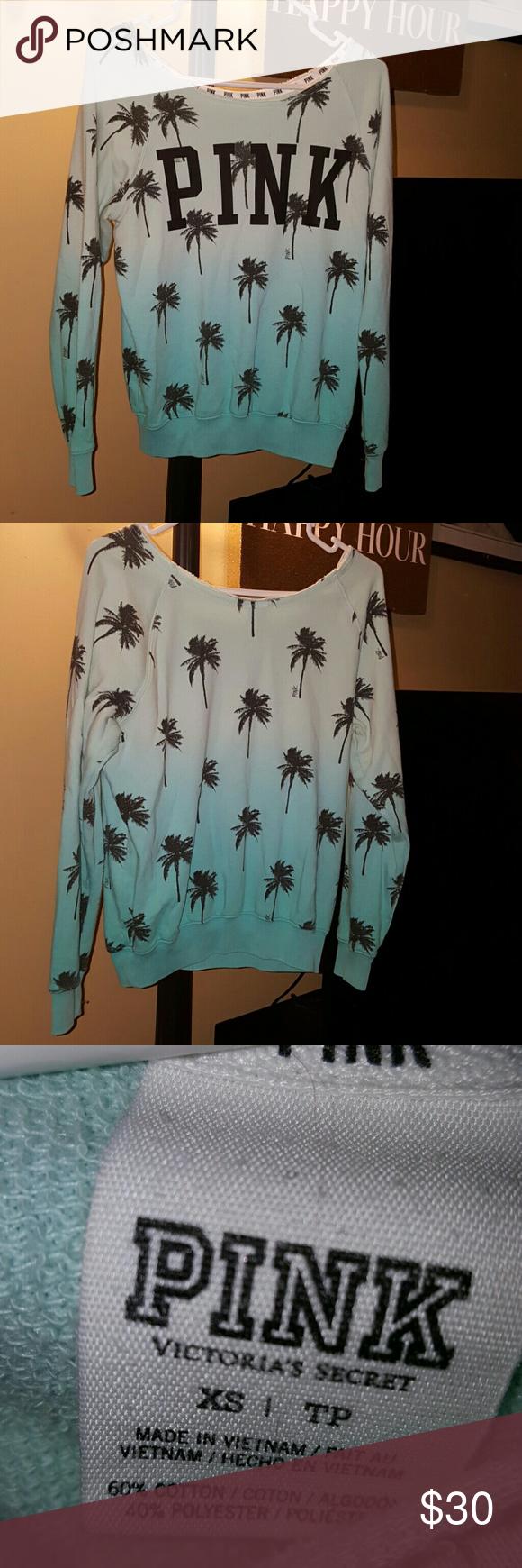 Vs pink sweatshirt Guc size xs palm tree off the shoulder sweatshirt PINK Victoria's Secret Tops Sweatshirts & Hoodies