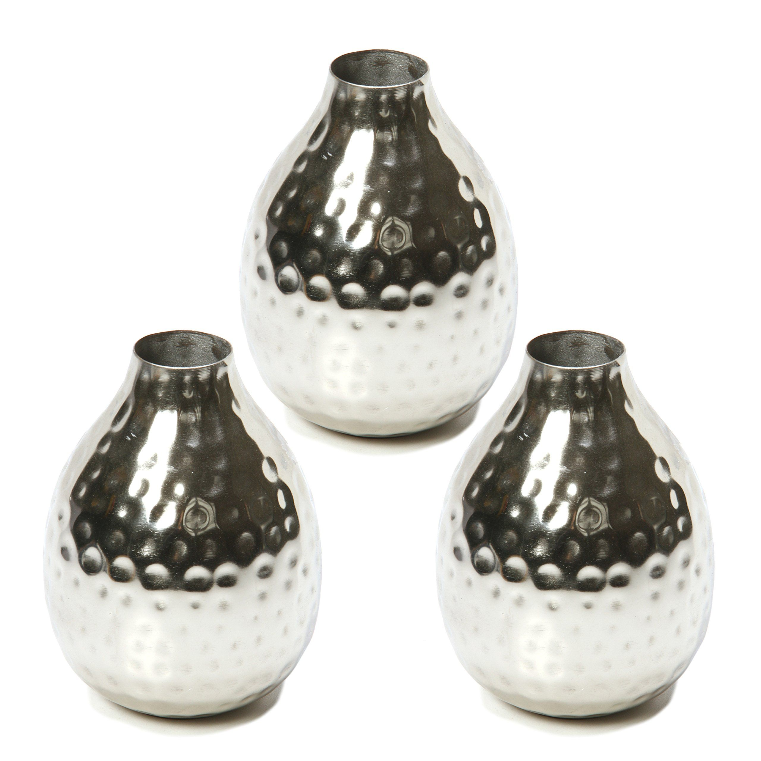 Hosley Set Of 3 Silver Color Metal Bud Floral Vases