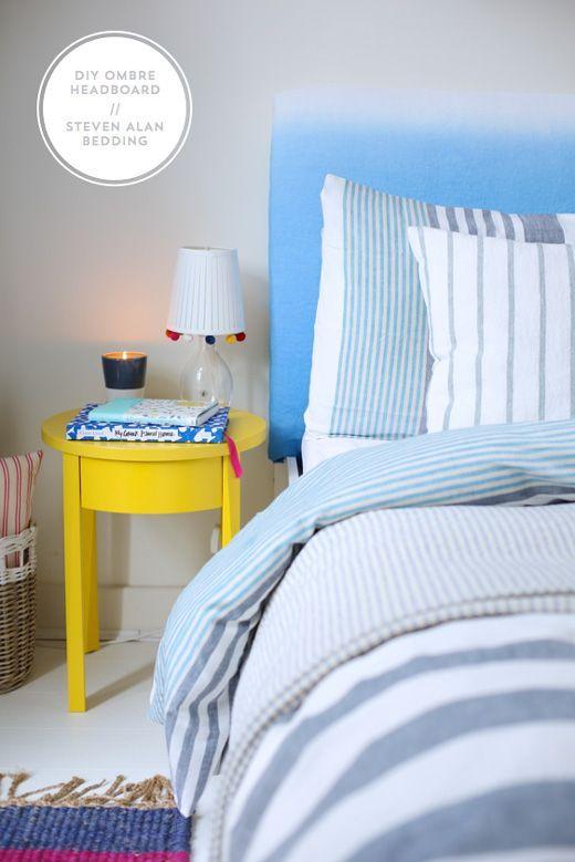DIY ombre headboard and Steven Alan x West Elm stripe bedding