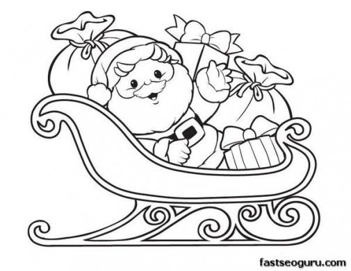 Santa Claus Sleigh Coloring Pages   ... Santa Claus with Sleigh and ...