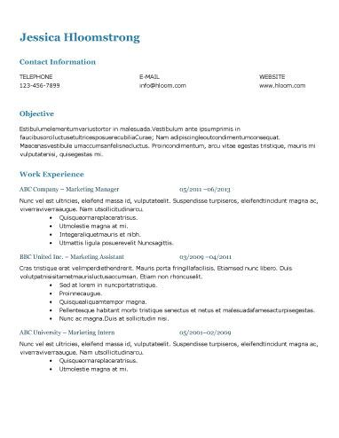 Download Free Template Resume Templates Resume Resume Template