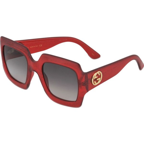 Gucci Sunglasses Gg0053s 003 235 Liked On Polyvore Featuring Accessories Eyewear Sunglasses Red Red Glasses Gucci Glasses Sunglasses Gucci Sunglasses