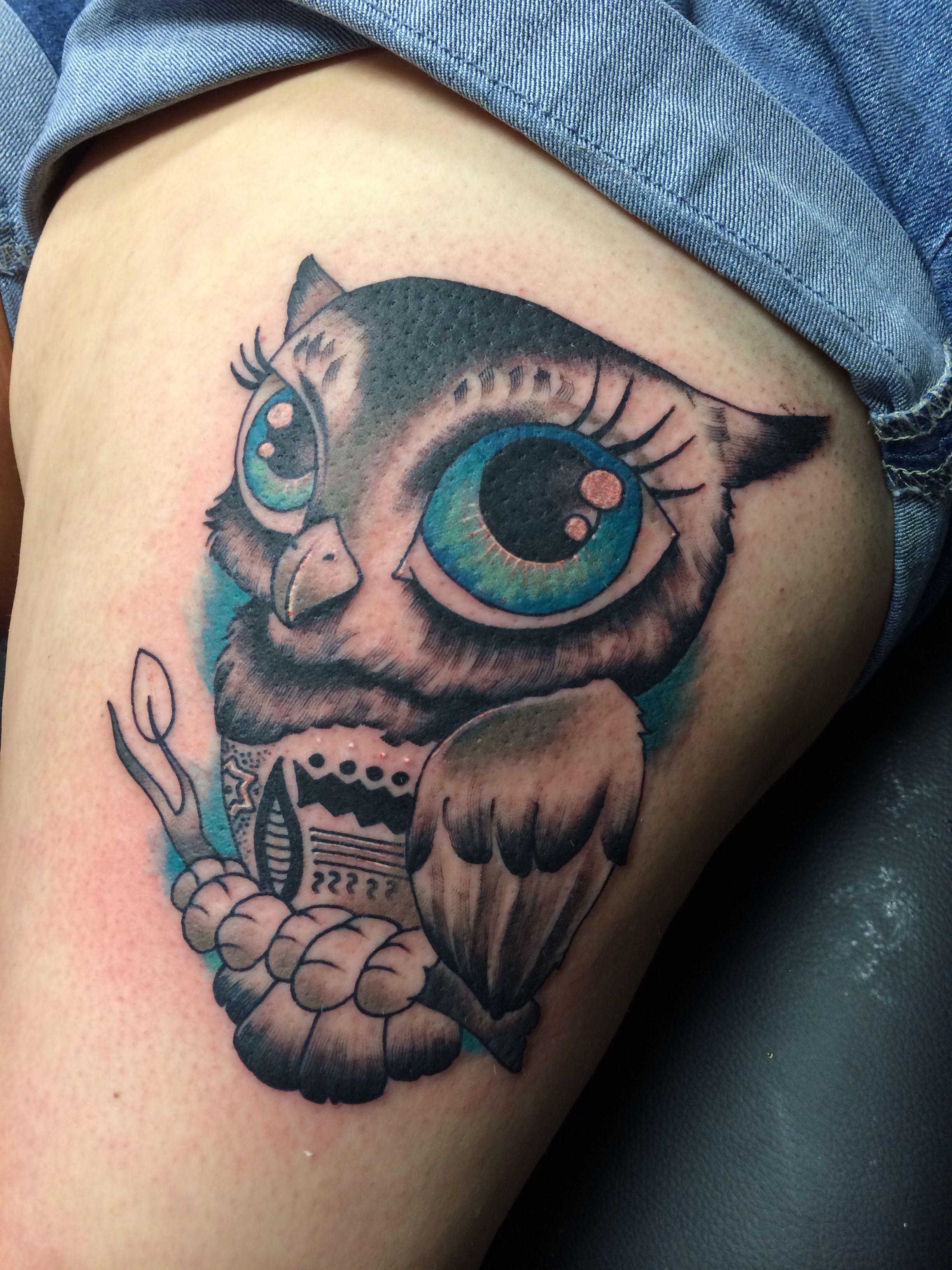 Owl Tattoo Big Blue Eyes Owl Tattoo Eye Tattoo Tattoos