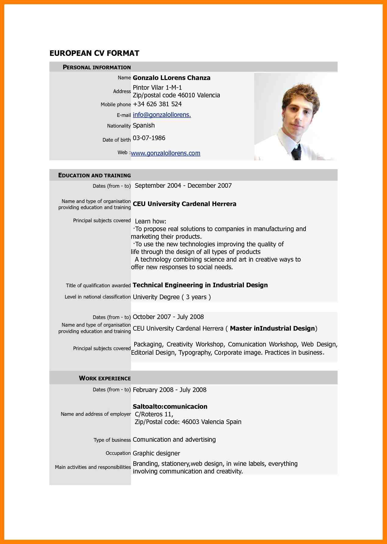 9 Standard Cv Format Doc Cv For Teaching Latest Cv Format ...