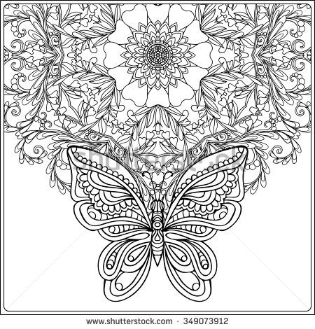 Butterfly And Floral Mandala Coloring Book For Adult Older Children Page Outline Drawing