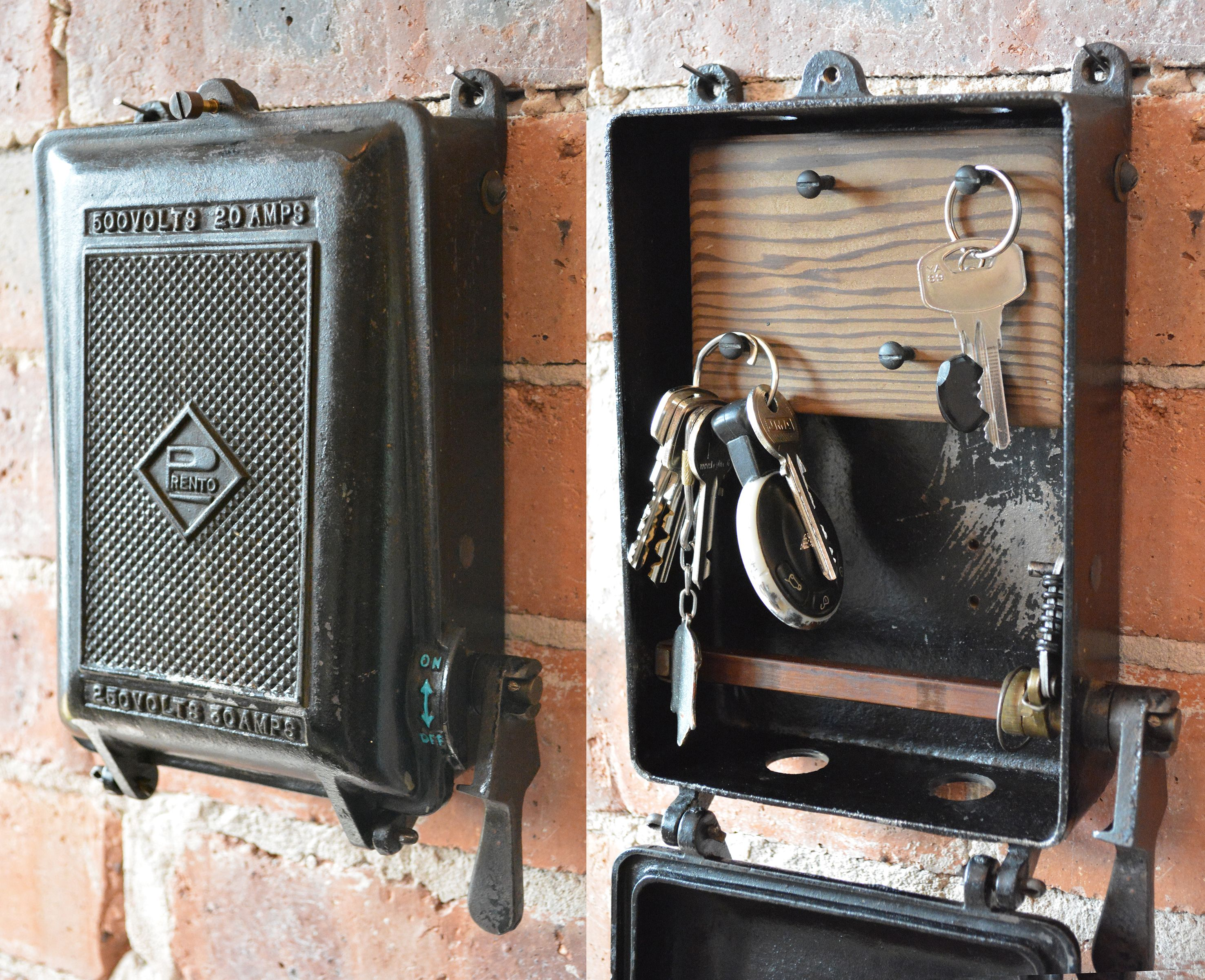 medium resolution of cast iron key storage converted from an antique 1940 s prento fuse box vintage industrial