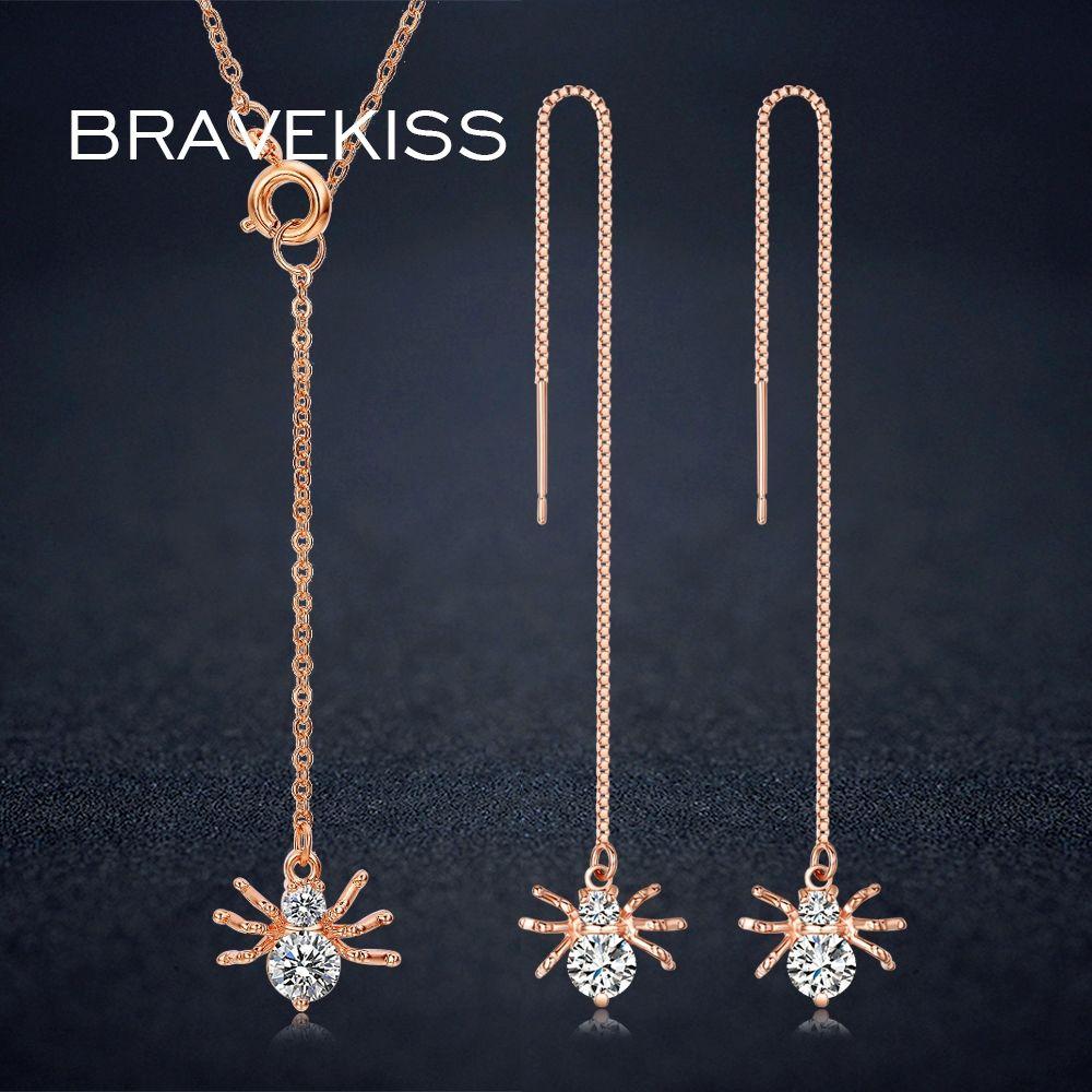 Bravekiss austrian crystal jewelry sets necklace earrings cz animal