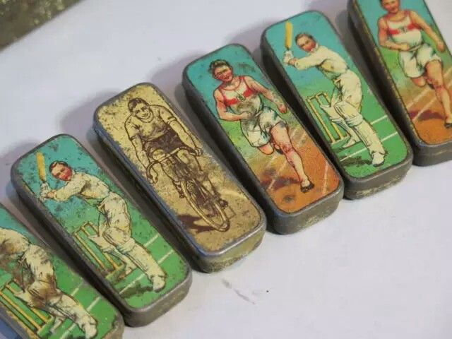 I have most of these little sport related nib pin tins in my Collection, tennis-cycling-tennis-athlectics-soccer-sailing-boxing, some sports are present with 2 tins, xtremly hard to find and very valuable, consider only sales with descent price bids.