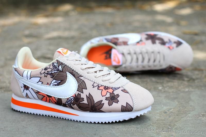 hot sale online 7a8c7 bc34f Factory Outlet Nike Classic Cortez Womens Flowers Running Shoes Khaki White  Orange