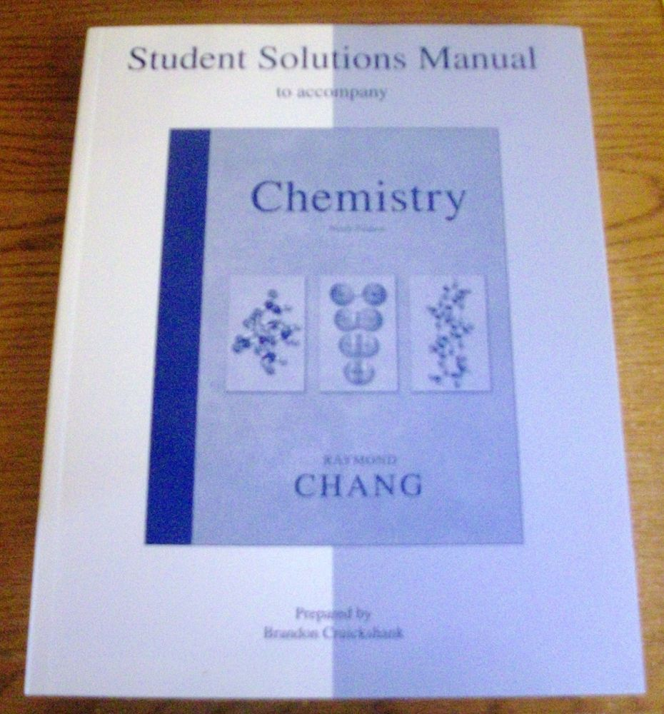 Solution Manual for Chemistry 9th Ed by Raymond Chang (2006, Paperback)  #WorkbookStudyGuide
