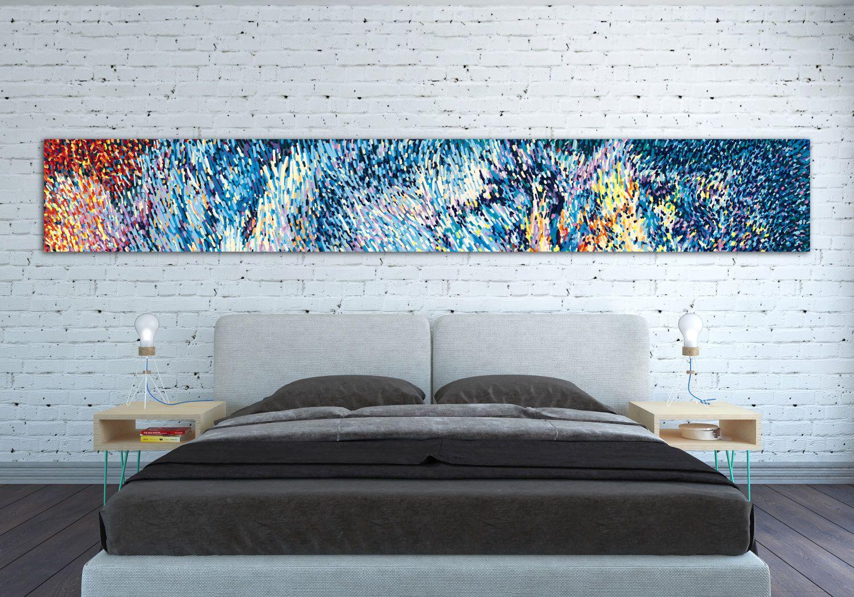 Canvas Print Horizontal Extra Long Horizontal Large Abstract Painting Horizontal Colorful Blue Wall Art O Horizontal Painting Horizontal Wall Art Blue Wall Art
