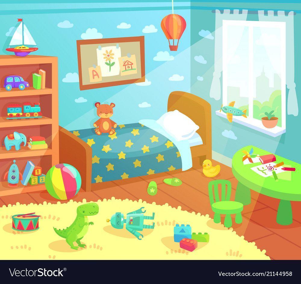 Cartoon Kids Bedroom Interior Home Childrens Room Vector Image On