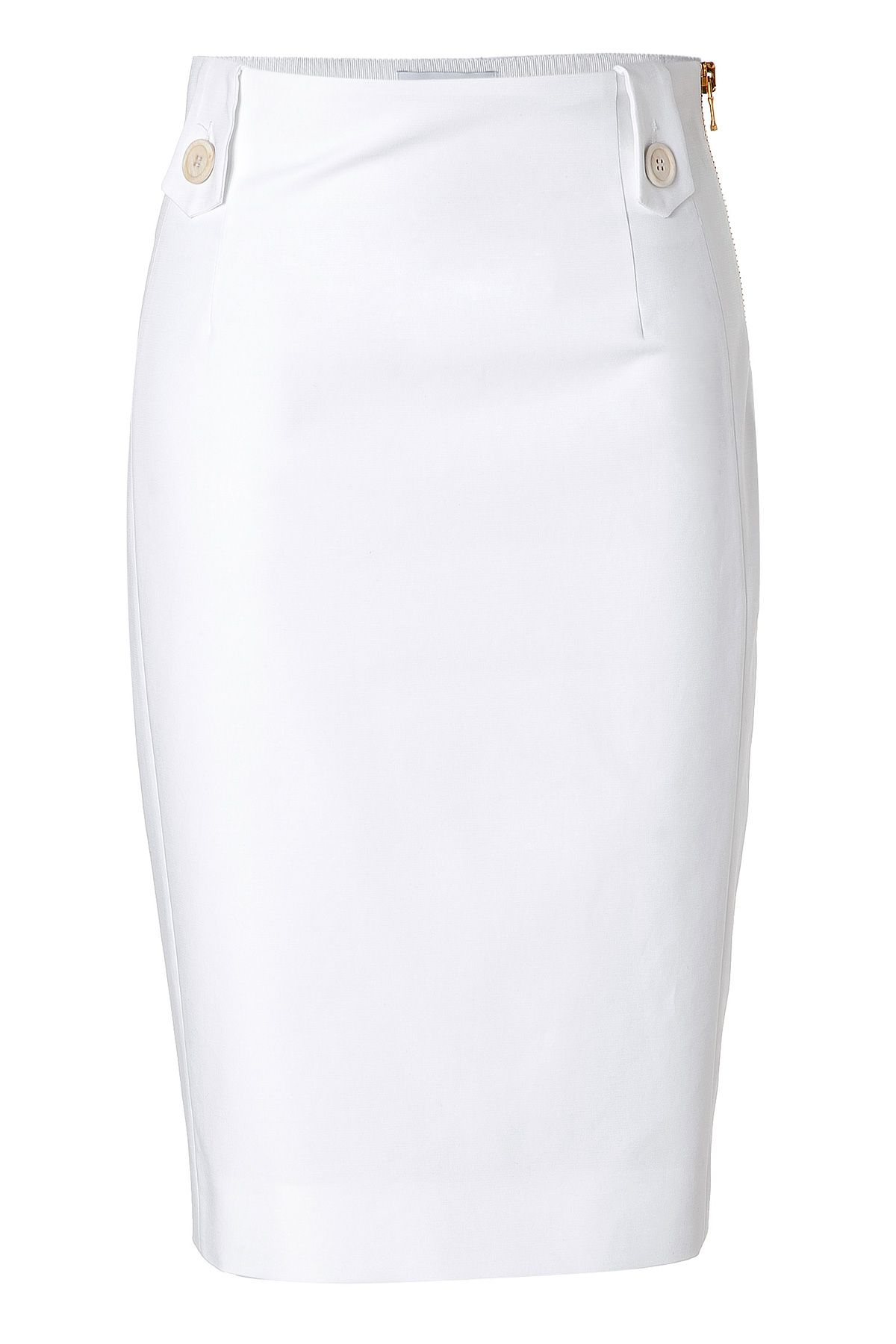 MOSCHINO White Cotton Pencil Skirt Cue the leopard print top to go with this love it! red high heals and I'm set