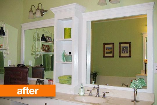 Change The Look Of The Big Bathroom Mirror By Adding Trim And Shelving In  The Middle. It Looks Great!!