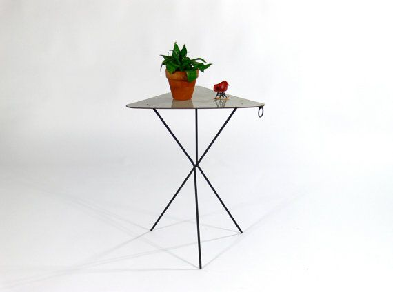 mid century modern triangle folding table by comod on etsy 59 00