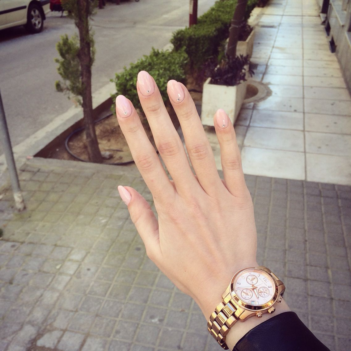 Short nude almond nails with strass on the bottom❤ | Nails ...