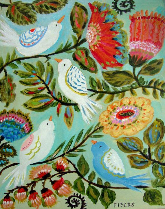 Bird Flowers Painting Original by Karen Fields 16 x 20. $100.00, via Etsy.