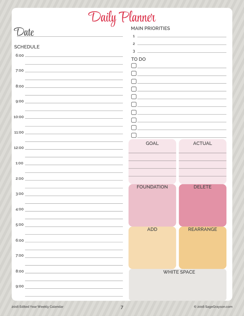 free printable worksheet  daily planner for 2016