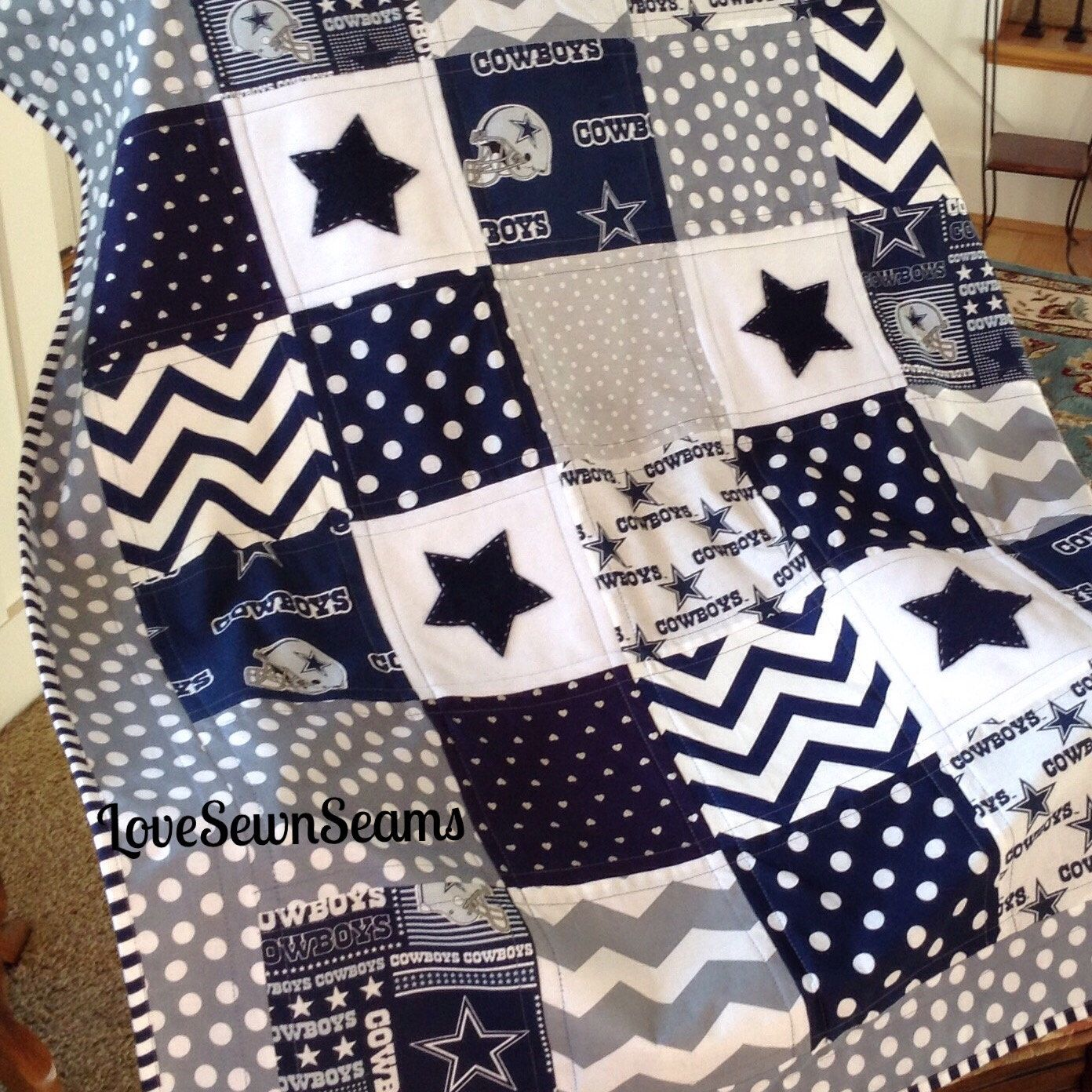 Dallas Cowboy Quilt In Navy Gray Amp White Nfl Dallas