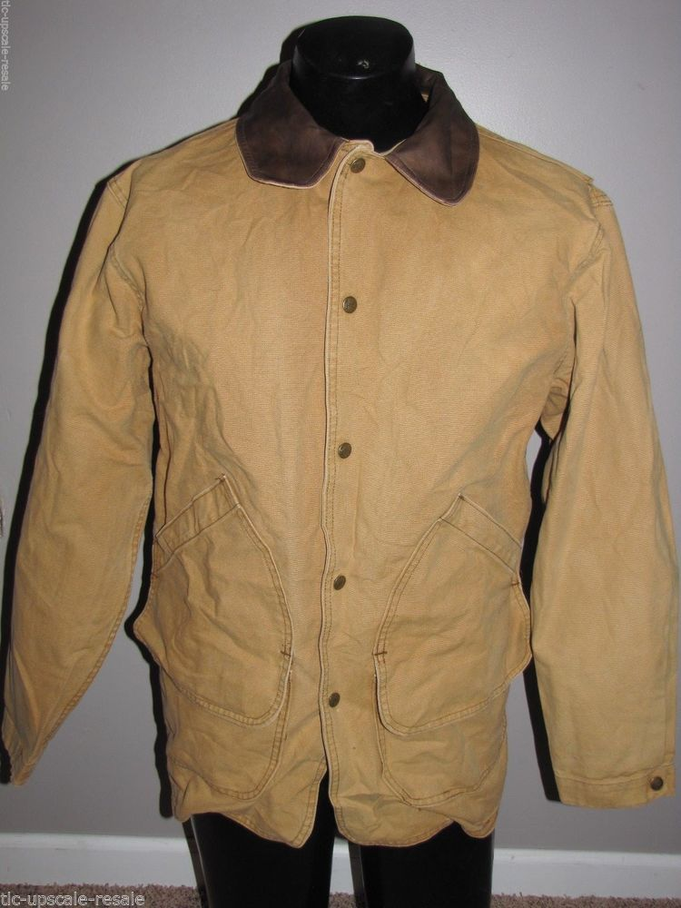 8cdee83d9ca WOOLRICH Indian Blanket Wool Lined Canvas Saddle Barn Coat Hunting Jacket M   Woolrich  BasicJacket