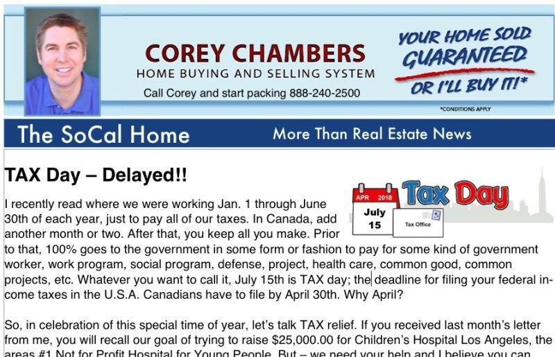 Corey Chambers Socal Home Real Estate Newsletter April 2020 In 2020 Real Estate Houses Real Estate Real Estate News