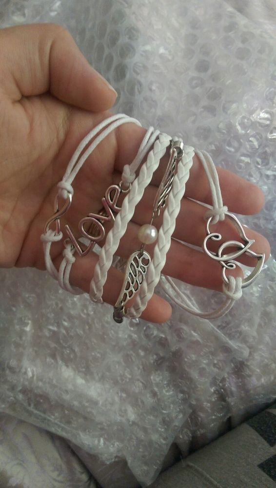 Wish | Cute LOVE Wings Heart Charms Leather Rope Fashion Infinity Friendship Bracelet (Color: White)