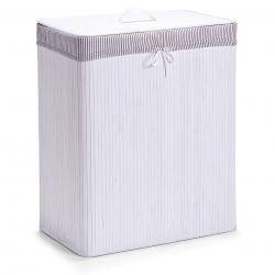 Zeller Wäschesammler, 2-fach, Bamboo/Bambus, weiß, Maße: 52x32x63 cm