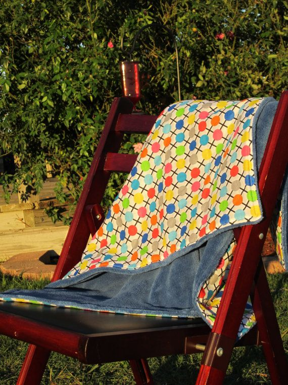 Multi Color Polka Dot Baby Blanket with Blue by LilBitsofSugar, $34.00
