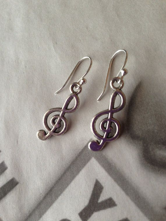 Music Earrings Silver Charm Dangle Hobby by ArtisticSparkle, $5.00