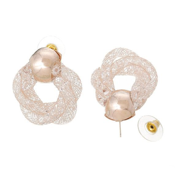 Rose Gold  Earrings    Clear Rhinestone With by fairtrade4life
